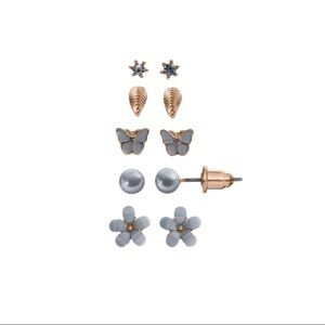 New LC Flower, Leaf & Butterfly Stud Earring Set